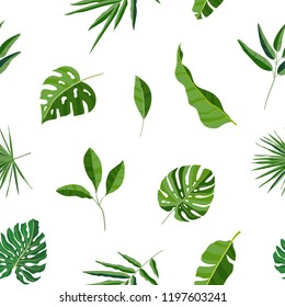 Natural seamless pattern with green tropical leaves or scattered exotic foliage of jungle plants on white background. Hawaiian backdrop. Colored botanical vector illustration for wrapping paper.