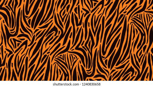 Natural seamless pattern with orange zebra or tiger coat of fur texture. Bright colored animal backdrop with stripes. Vector illustration in flat style for wrapping paper, textile print, wallpaper.