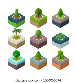 Natural set park urban landscape isometric 3D view urban infrastructure green, tree, and ecology plant