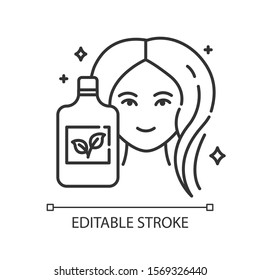 Natural shampoo bottle linear icon. Paraben free haircare product. Hygiene. Hypoallergenic. Organic cosmetics. Thin line illustration. Contour symbol. Vector isolated outline drawing. Editable stroke