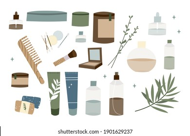 Natural skin care. Organic cruelty-free cosmetics. Vegan makeup. Herbal beauty products for face and body care. Vector flat cartoon illustration