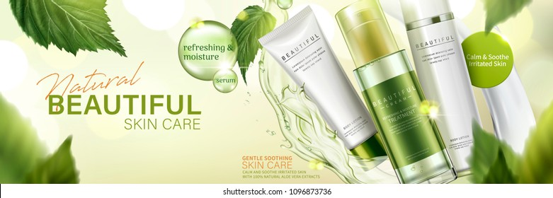 Natural skin care products in green with flying leaves and liquid on bokeh background in 3d illustration