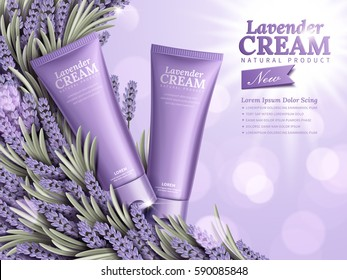 Natural skin care products with purple package and lavender element isolated on bokeh background in 3d illustration