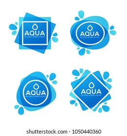 natural spring water, vector  logo, labels and stickers templates with aqua drops