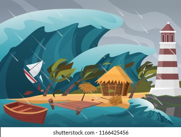 Natural strong disaster with rain and tsunami waves from ocean with wooden dock, house, palms and lighthouse.