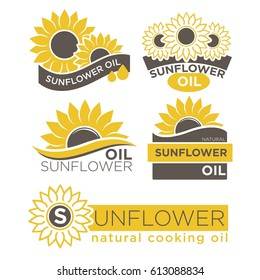 Natural sunflower oil logotypes set vector illustration on white background