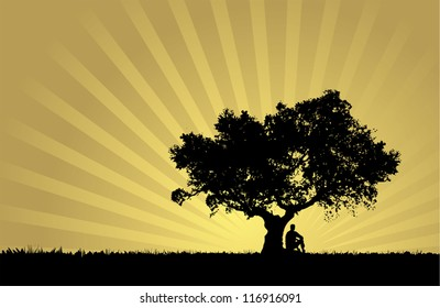 Natural sunset landscape with man silhouette