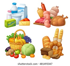 Natural supermarket food sets: Dairy products, Meat sausages chicken, Grocery fruits and vegetables, Bakery. Cartoon vector illustration.