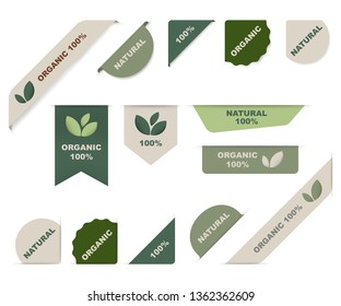 natural tag label and organic label green. modern ribbon banner and badges design.