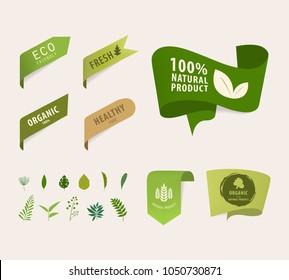 natural tag ribbon and organic label green color. eco banner vector design.