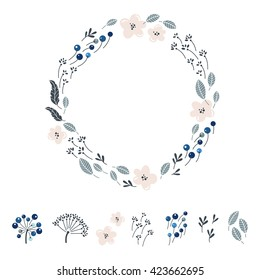 Natural textures in pastel colors. Vector flower in circle. Icons set of plants and flowers. It can be used for invitations, weddings, greeting cards.