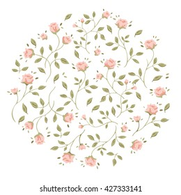 Natural textures in pastel colors. Vector flowers rose, background in circle.