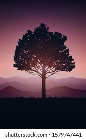 Natural tree forest mountains horizon Landscape wallpaper Sunrise and sunset Illustration vector On comics style Colorful view background
