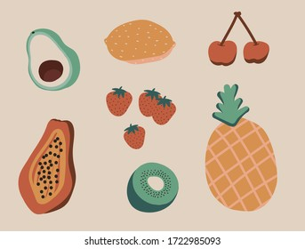 Natural tropical doodle fruits . Fruits hand drawn, organic fruits or vegetarian food. Vector icons illustration. Fruit vector collection.there are avocado,lemon,strawberry,papaya,kiwi,pinapple,cherry