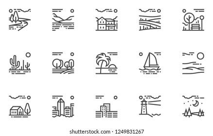 Natural And Urban Landscape. Vector Line Icons Set. Farm, Megapolis, Desert, Field, Forest, River, Park. Editable Stroke. 48x48 Pixel Perfect.