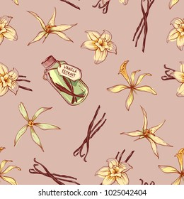 Natural vanilla spice seamless pattern. Exotic asian spice for dessert or parfum industry vector illustration. Vanilla flower sticks, leaves and extract oil bottle isolated on brown background.