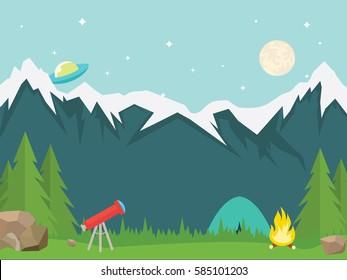 Natural vector landscape. Summer camping. vector illustration in flat design
