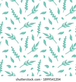 Natural vector seamless pattern leaves green elements on white background. Template for the design of wallpaper, tiles, fabrics and dishes