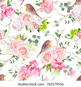 Natural vector seamless watercolor pattern with cute robin birds and bouquets of peachy roses, pink and green hydrangea, orchid, white peony, eucalyptus in japanese style.All elements are editable