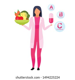 Natural versus synthetic vitamins flat vector illustration. Female doctor holding bowl of fresh fruits, vegetables isolated cartoon character on white background. Dietitian explaining food supplements