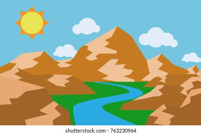 Natural view of river wit hot mountain Andy stone rock mountain in summer sunshine with some cloud for wallpaper or background