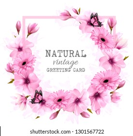 Natural vintage greeting card with pink flowers and butterfly. Vector.