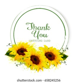 Natural vintage greeting card with yellow sunflowers. Vector.