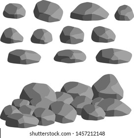 Natural wall stones and grey rocks. Element of forests, mountains and caves with cobblestone.