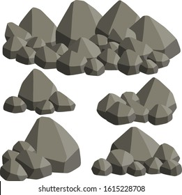 Natural wall stones and grey rocks. Element of forests, mountains and caves with cobblestone. Cartoon flat illustration
