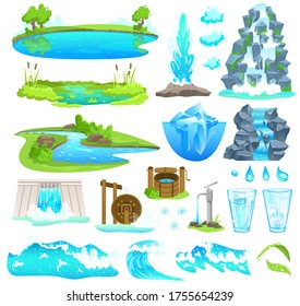 Natural water landscape vector illustration. Cartoon flat nature set of flowing river stream and riverside, waterfall on mountain, waterfront of lake pond brook over rocks, dam flow isolated on white