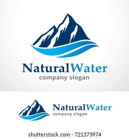 Natural Water Logo Template Design Vector, Emblem, Design Concept, Creative Symbol, Icon