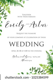 Natural watercolor style botanical wedding invitation, invite, save the date card floral design with Green fern leaves, forest plants,  greenery herbal mix frame, border. Beautiful rustic template