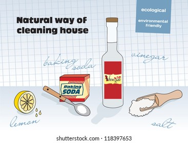Natural way of cleaning house; vinegar, lemon, salt, baking soda