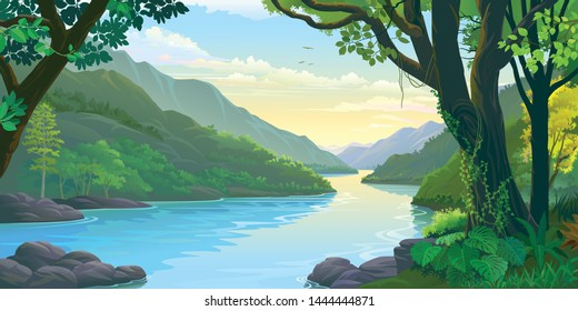 Natural window view of the river flowing calmly across dense green tropic forest