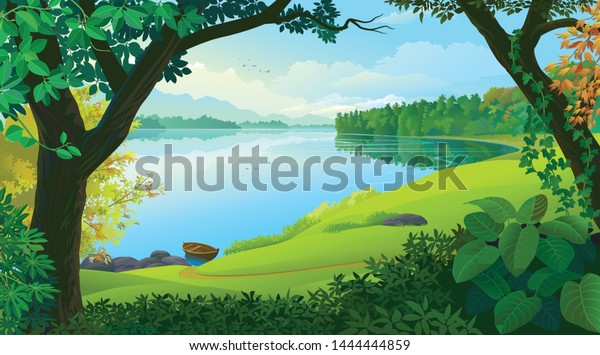 Natural window view to the tropical river and a boat
