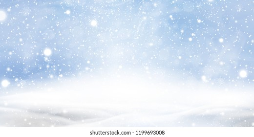 Natural Winter Christmas background with blue sky, heavy snowfall, snowflakes in different shapes and forms, snowdrifts. Winter landscape with falling christmas shining beautiful snow. vector.