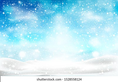 Natural Winter Christmas background with snow banks in the snowfall. Winter landscape with falling Christmas shining beautiful snow. Vector illustration with snowflakes, white snow, blue sky