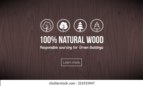 Natural wood banner with textured background and icons set