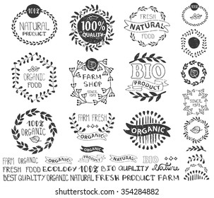 Natural,bio,eco logotype creator.Vector ecology logo,badges, labels set,ribbons,isolated elements,laurel wreath,frames,lettering titles.Floral Organic design template,menu.Hand drawing stamps