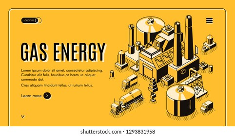 Natural-gas and energy supply company isometric vector web banner or landing page template with cargo trucks carrying liquefied gas in tank from processing plant or LNG terminal line art illustration.