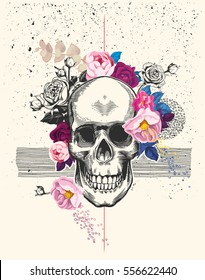 Naturalistic human skull drawn in etching style and surrounded by rose flowers with black ink spatter and lines on background. Trendy vector illustration for postcard, flyer, t-shirt print, poster.