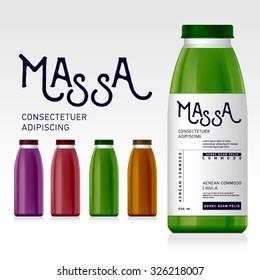 Naturalistic plastic, glass bottle of juice, jam, milk, sugar water, tea. Mock up packing with design label or badges.