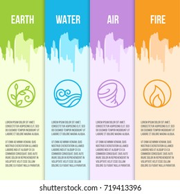 Nature 4 Classical elements circle line border icon sign. Water, Fire, Earth, Air. on green blue purple and orange background vector design