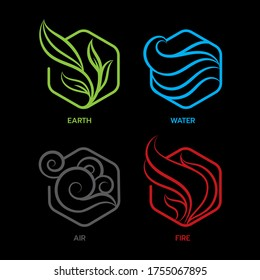 Nature 4 elements, abstract icon sign. Earth, Water, Air, Fire, on dark background.