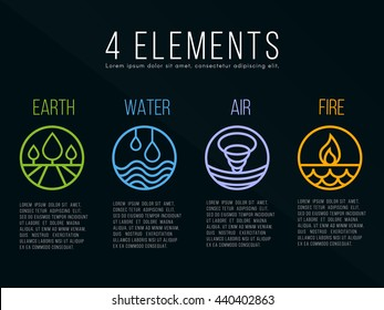 Nature 4 elements circle logo sign. Water, Fire, Earth, Air. on dark background.