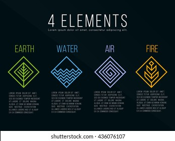 Nature 4 elements diamond square logo sign. Water, Fire, Earth, Air. on dark background.