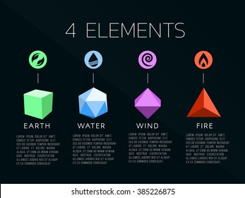 Nature 4 elements logo and crystal sign. Water, Fire, Earth, Air.  on dark background.