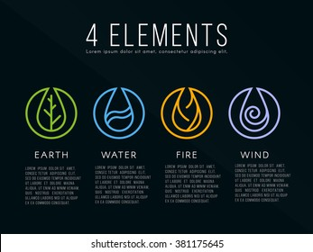 Nature 4 elements logo sign. Water, Fire, Earth, Air. on dark background.