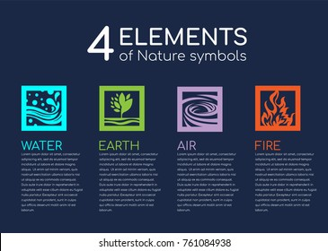 Nature 4  elements of nature symblos with Water, Fire, Earth and Air in square frame vector design