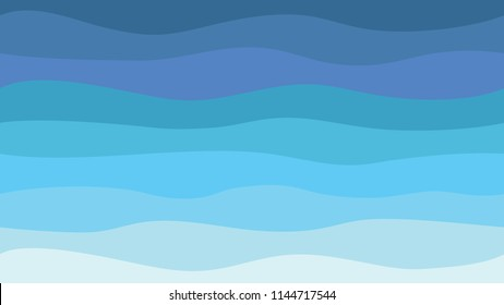 Nature abstract sea background hd blue waves modern seamless pattern. Vector illustration.